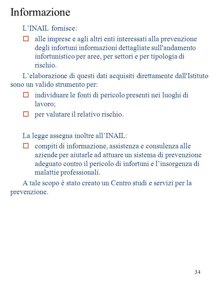 33 INAIL LINAIL è lEnte pubblico che gestisce lassicurazione obbligatoria contro gli infortuni sul lavoro e le malattie professionali. Oltre ai compit