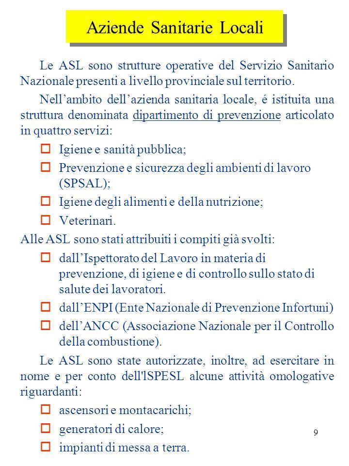 8 Presidi multizonali di igiene e prevenzione Sono strutture tecnico specialistiche istituite nellambito delle regioni, allo scopo di: fornire alle AS