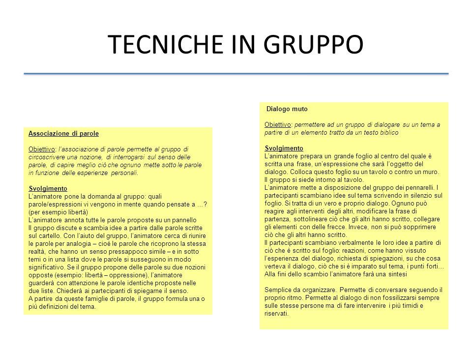 TECNICHE IN GRUPPO Associazione di parole Obiettivo: lassociazione di parole permette al gruppo di circoscrivere una nozione, di interrogarsi sul sens