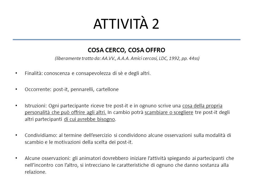 ATTIVITÀ 2 COSA CERCO, COSA OFFRO (liberamente tratto da: AA.VV., A.A.A. Amici cercasi, LDC, 1992, pp. 44ss) Finalità: conoscenza e consapevolezza di