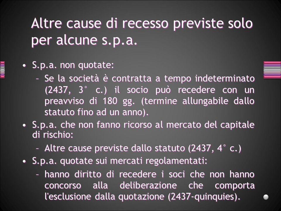 Altre cause di recesso previste solo per alcune s.p.a. S.p.a. non quotate:S.p.a. non quotate: –Se la società è contratta a tempo indeterminato (2437,