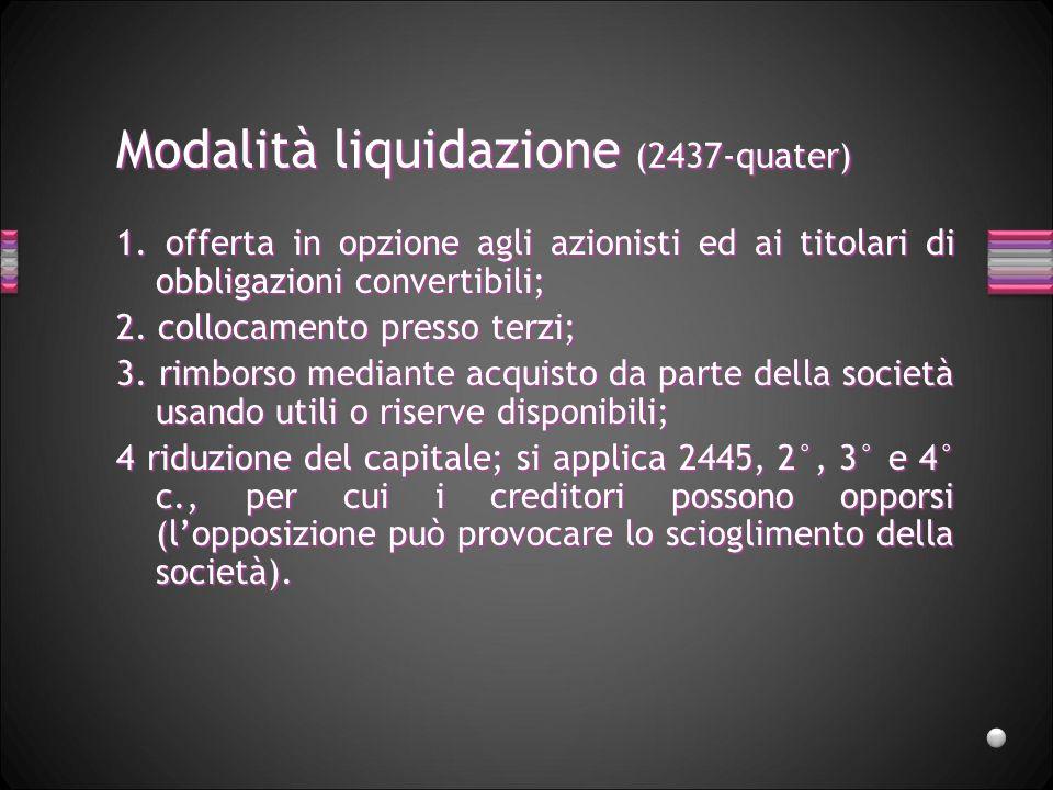Modalità liquidazione (2437-quater) 1. offerta in opzione agli azionisti ed ai titolari di obbligazioni convertibili; 2. collocamento presso terzi; 3.