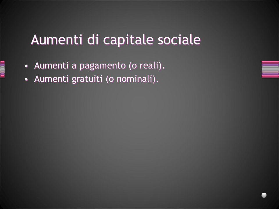 Aumenti di capitale sociale Aumenti a pagamento (o reali).Aumenti a pagamento (o reali). Aumenti gratuiti (o nominali).Aumenti gratuiti (o nominali).