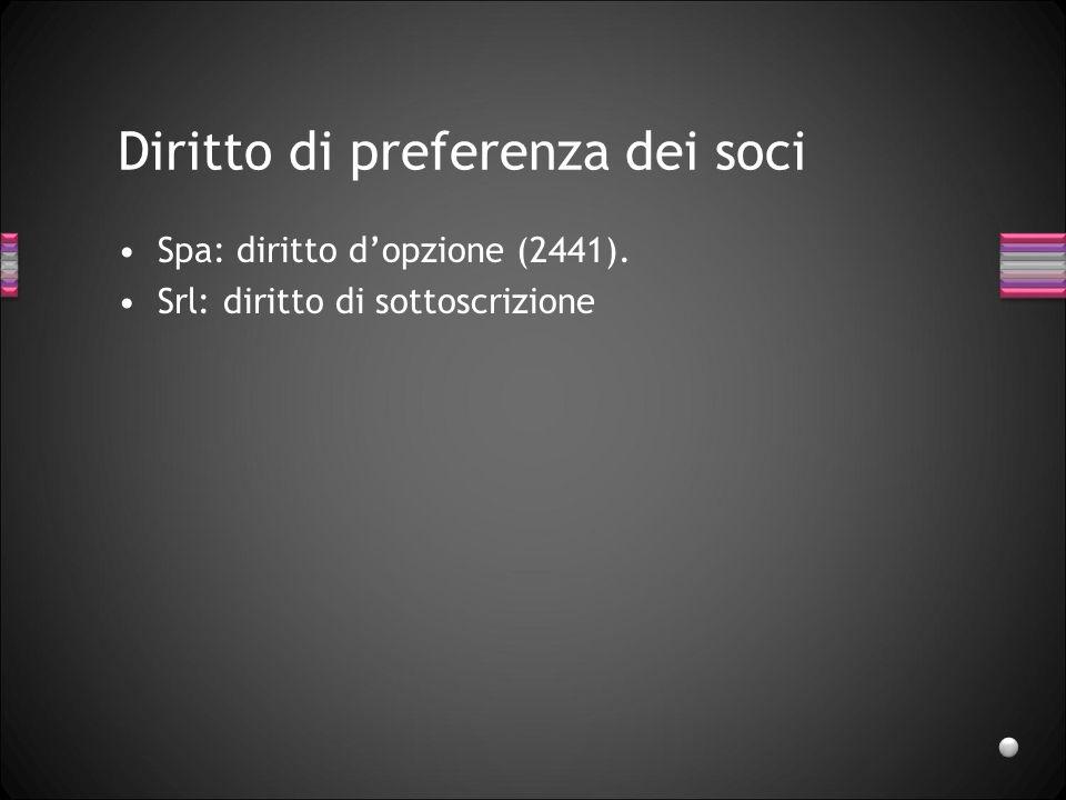 Diritto di preferenza dei soci Spa: diritto dopzione (2441). Srl: diritto di sottoscrizione