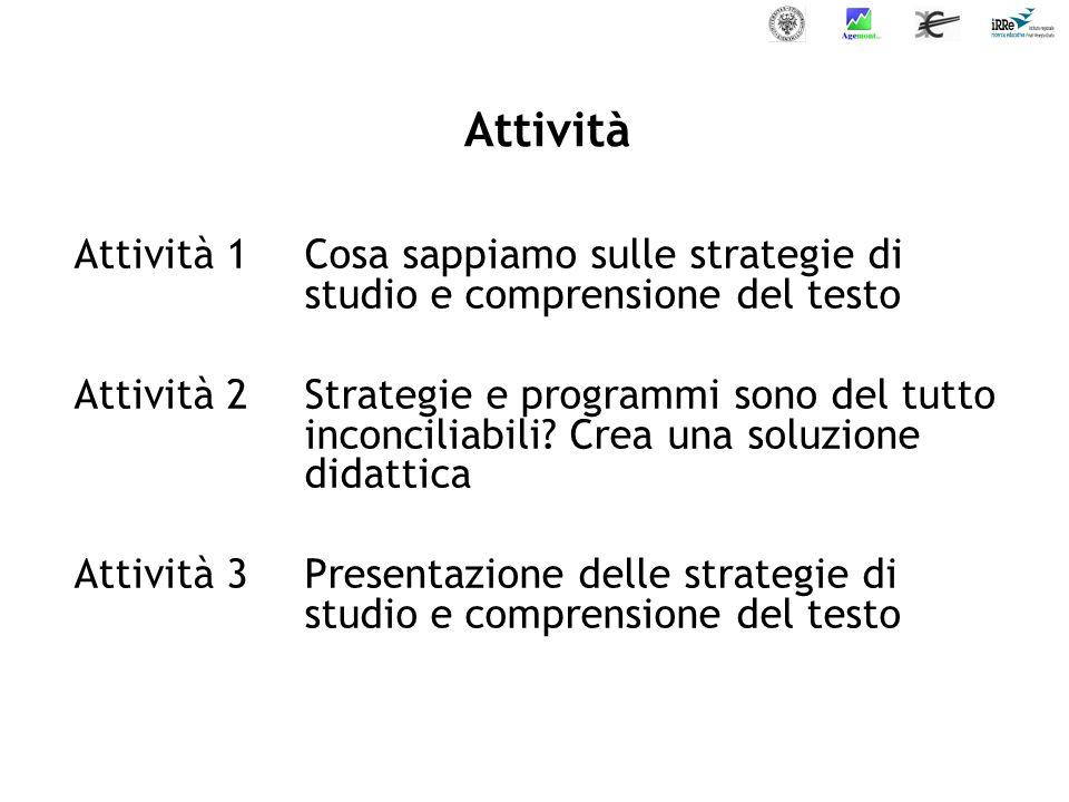 Attività Attività 1Cosa sappiamo sulle strategie di studio e comprensione del testo Attività 2Strategie e programmi sono del tutto inconciliabili.