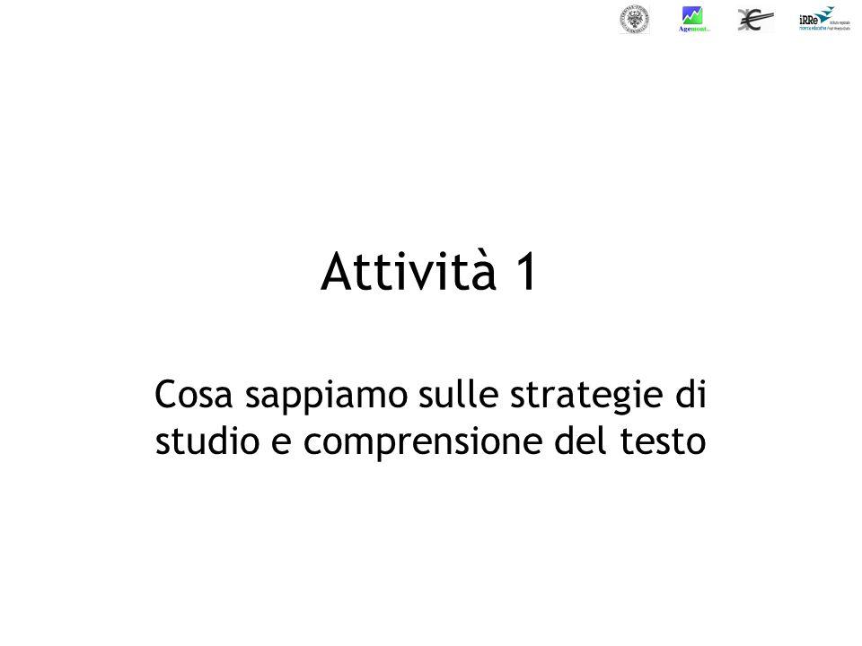 Attività 3 Presentazione delle strategie di studio e comprensione del testo