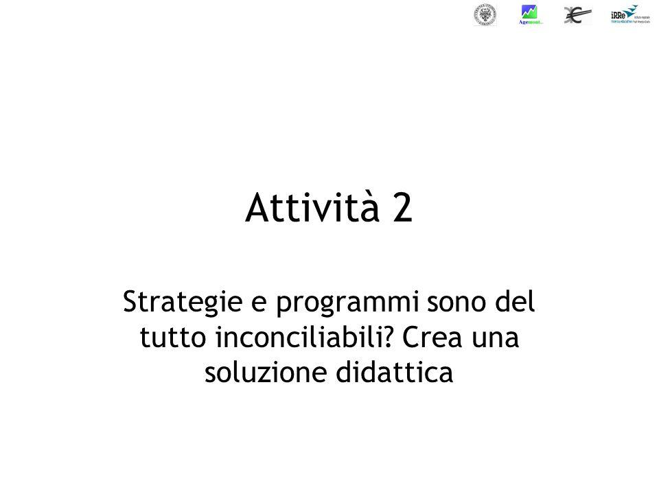 Attività 2 Strategie e programmi sono del tutto inconciliabili? Crea una soluzione didattica