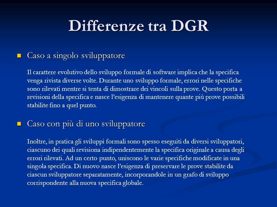 Differenze tra DGR Il carattere evolutivo dello sviluppo formale di software implica che la specifica venga rivista diverse volte.