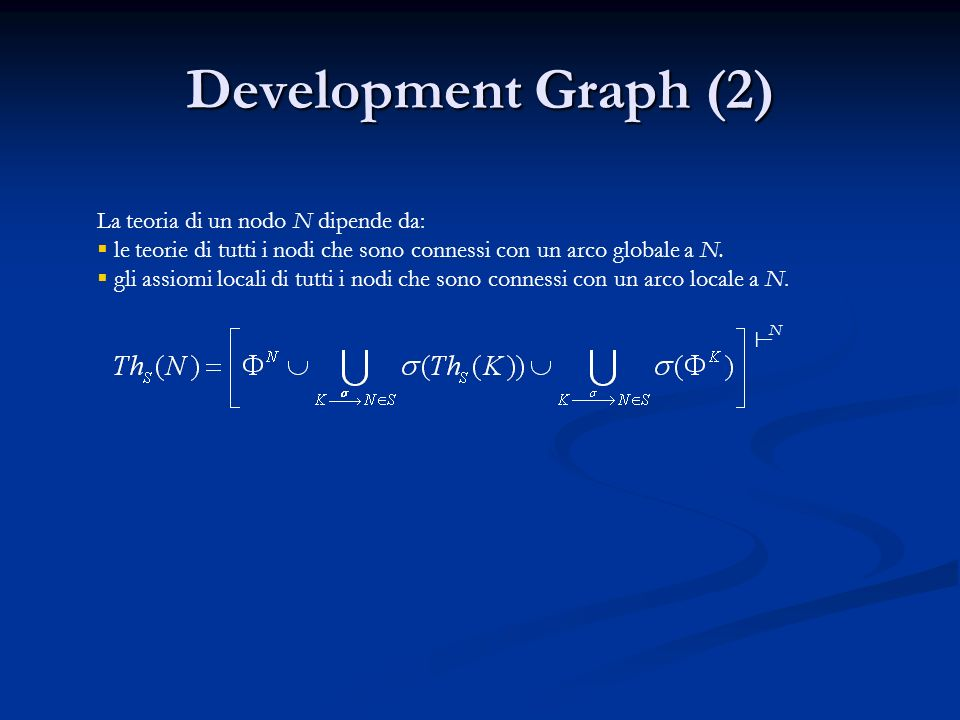 Development Graph (2) La teoria di un nodo N dipende da: le teorie di tutti i nodi che sono connessi con un arco globale a N.