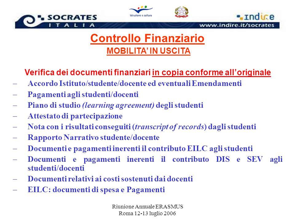 Riunione Annuale ERASMUS Roma 12-13 luglio 2006 Controllo Finanziario MOBILITA IN USCITA Verifica dei documenti finanziari in copia conforme allorigin
