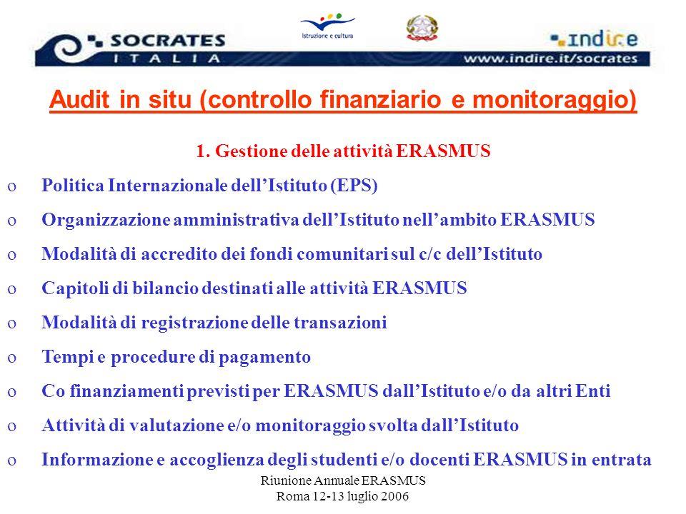 Riunione Annuale ERASMUS Roma 12-13 luglio 2006 Audit in situ (controllo finanziario e monitoraggio) 1. Gestione delle attività ERASMUS oPolitica Inte
