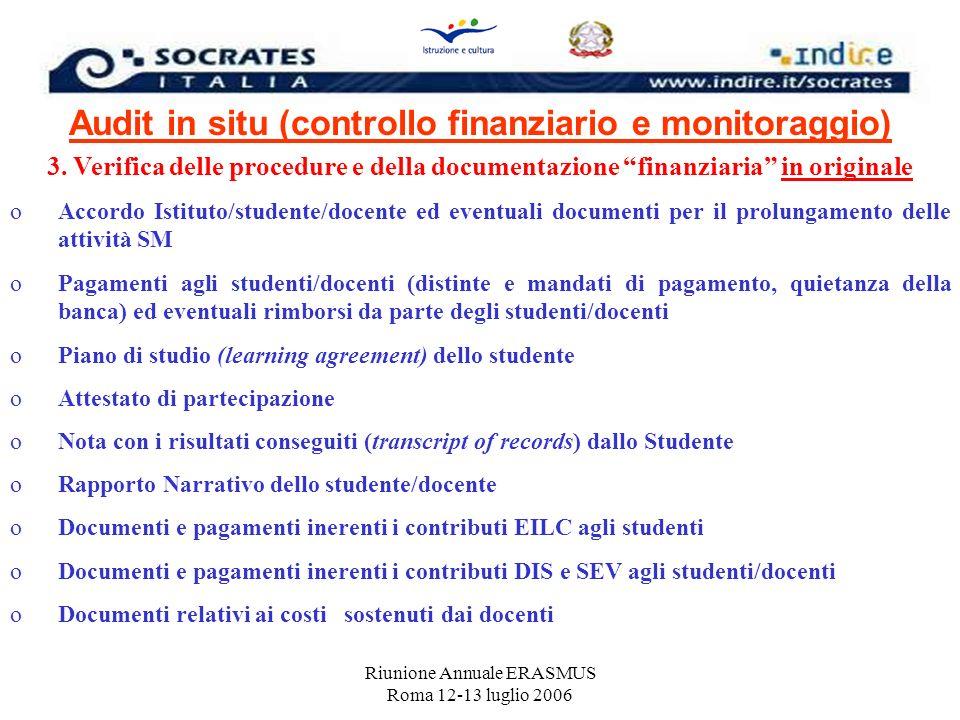 Riunione Annuale ERASMUS Roma 12-13 luglio 2006 Audit in situ (controllo finanziario e monitoraggio) 3. Verifica delle procedure e della documentazion