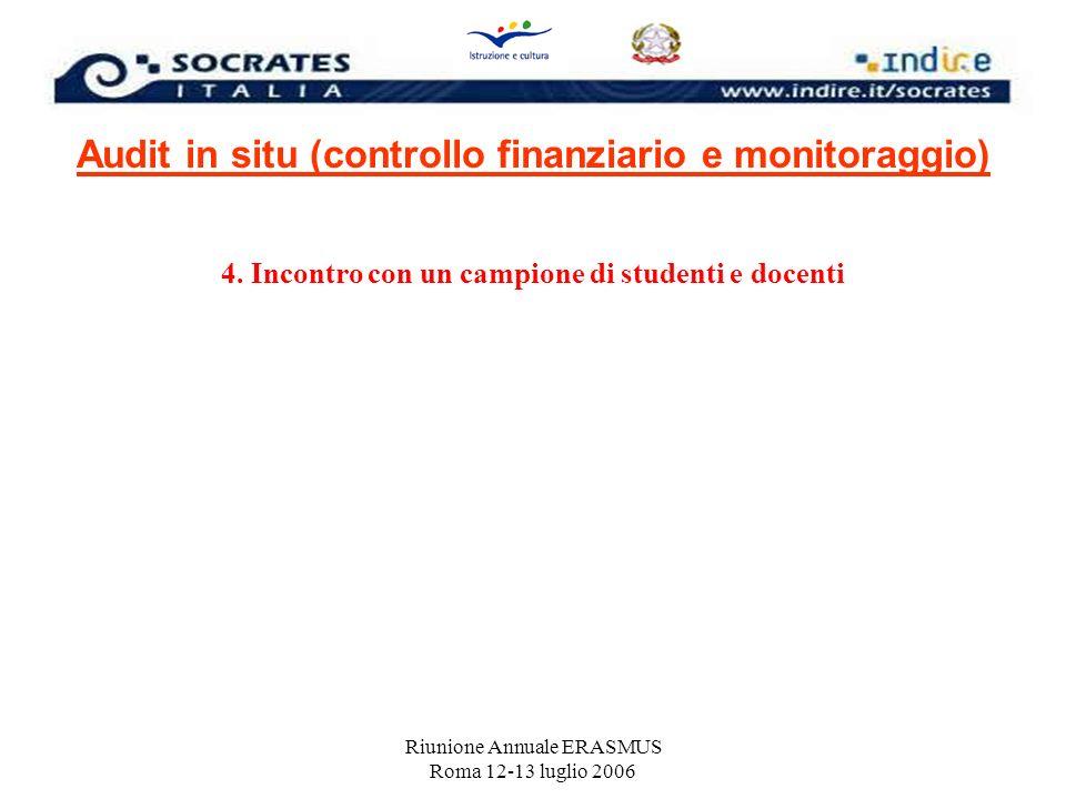 Riunione Annuale ERASMUS Roma 12-13 luglio 2006 Audit in situ (controllo finanziario e monitoraggio) 4. Incontro con un campione di studenti e docenti