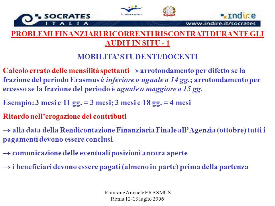 Riunione Annuale ERASMUS Roma 12-13 luglio 2006 PROBLEMI FINANZIARI RICORRENTI RISCONTRATI DURANTE GLI AUDIT IN SITU - 1 MOBILITA STUDENTI/DOCENTI Cal
