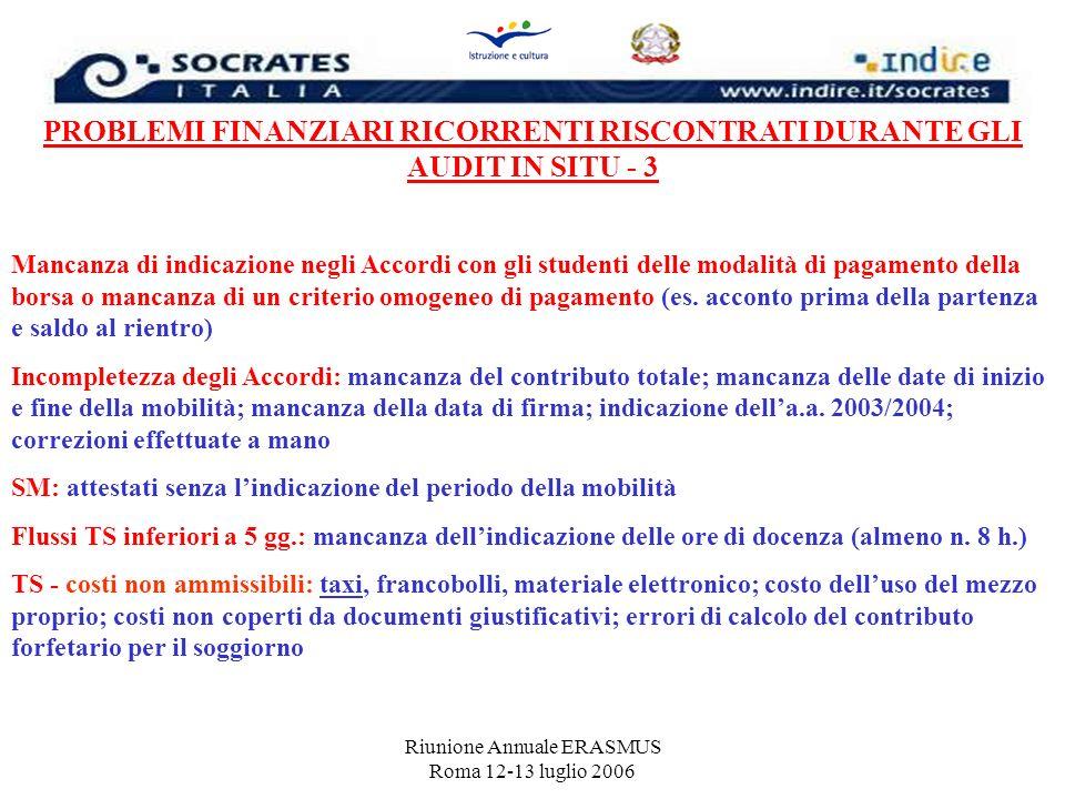 Riunione Annuale ERASMUS Roma 12-13 luglio 2006 PROBLEMI FINANZIARI RICORRENTI RISCONTRATI DURANTE GLI AUDIT IN SITU - 3 Mancanza di indicazione negli