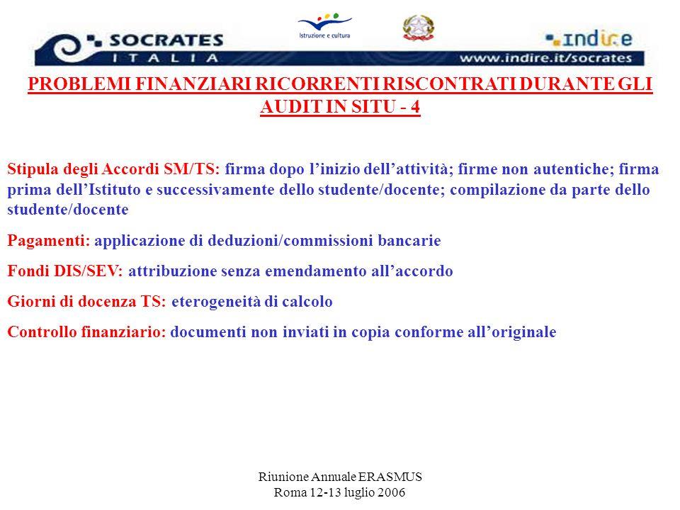 Riunione Annuale ERASMUS Roma 12-13 luglio 2006 PROBLEMI FINANZIARI RICORRENTI RISCONTRATI DURANTE GLI AUDIT IN SITU - 4 Stipula degli Accordi SM/TS: