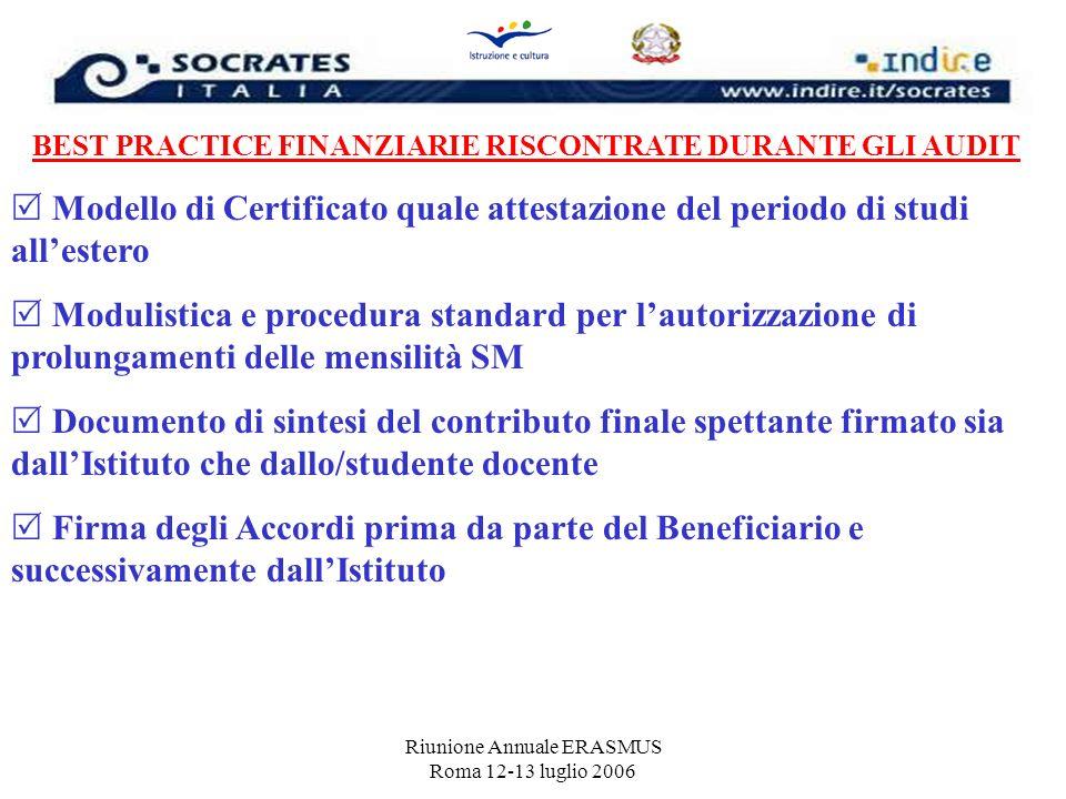 Riunione Annuale ERASMUS Roma 12-13 luglio 2006 BEST PRACTICE FINANZIARIE RISCONTRATE DURANTE GLI AUDIT Modello di Certificato quale attestazione del