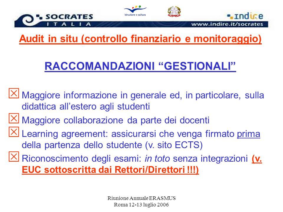 Riunione Annuale ERASMUS Roma 12-13 luglio 2006 Audit in situ (controllo finanziario e monitoraggio) RACCOMANDAZIONI GESTIONALI Maggiore informazione