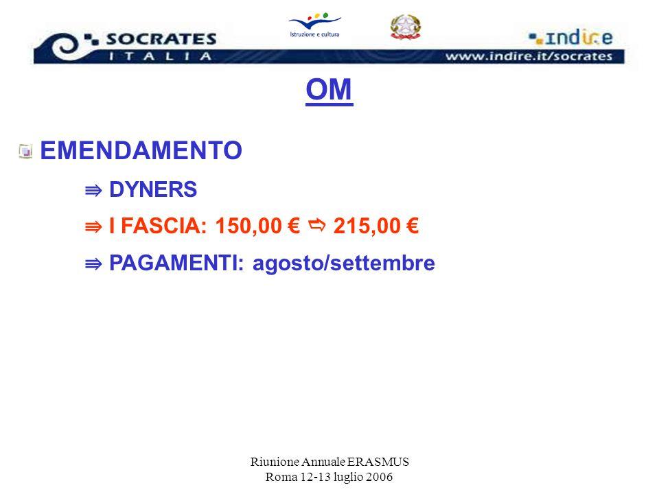 Riunione Annuale ERASMUS Roma 12-13 luglio 2006 OM EMENDAMENTO DYNERS I FASCIA: 150,00 215,00 PAGAMENTI: agosto/settembre