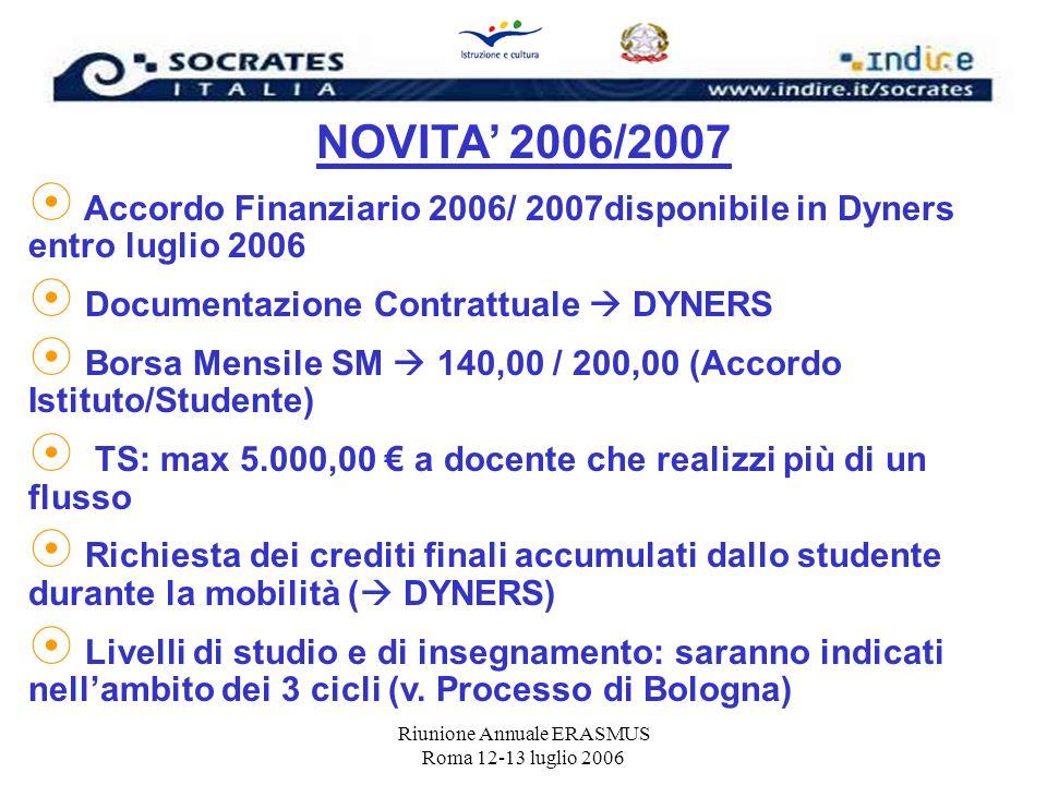 Riunione Annuale ERASMUS Roma 12-13 luglio 2006 NOVITA 2006/2007 Accordo Finanziario 2006/ 2007disponibile in Dyners entro luglio 2006 Documentazione