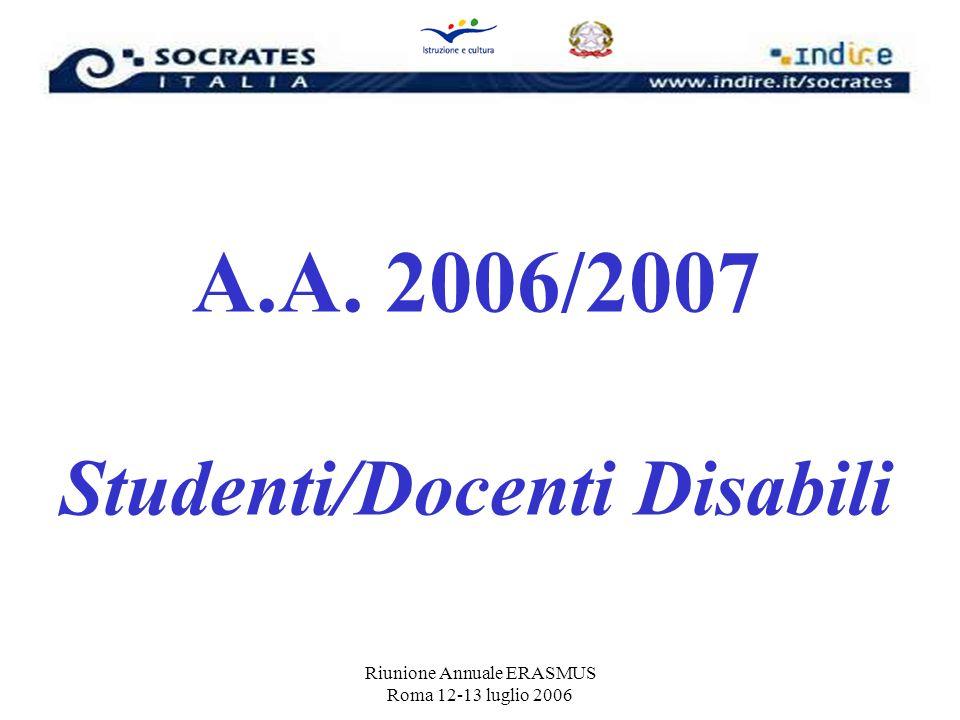 Riunione Annuale ERASMUS Roma 12-13 luglio 2006 A.A. 2006/2007 Studenti/Docenti Disabili
