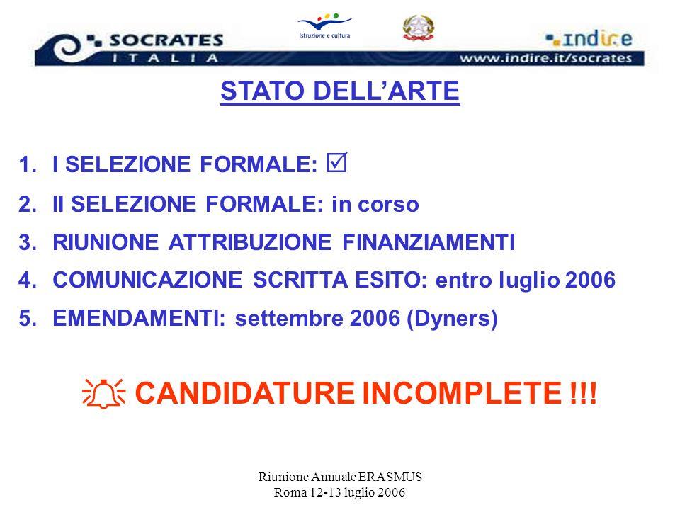 Riunione Annuale ERASMUS Roma 12-13 luglio 2006 STATO DELLARTE 1.I SELEZIONE FORMALE: 2.II SELEZIONE FORMALE: in corso 3.RIUNIONE ATTRIBUZIONE FINANZI