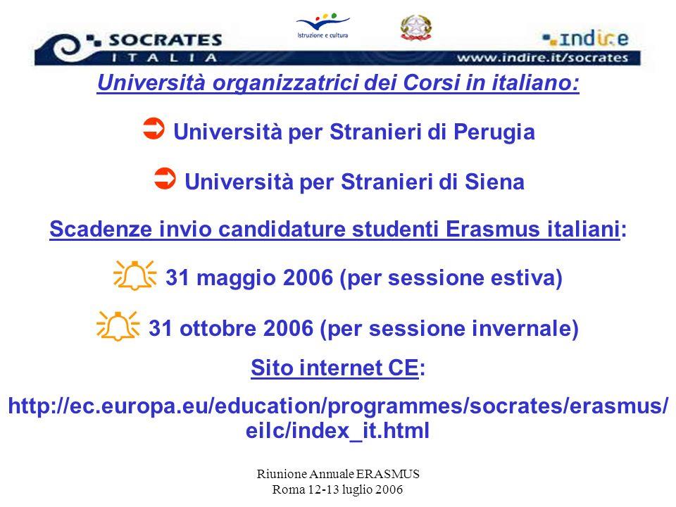 Riunione Annuale ERASMUS Roma 12-13 luglio 2006 Università organizzatrici dei Corsi in italiano: Università per Stranieri di Perugia Università per St