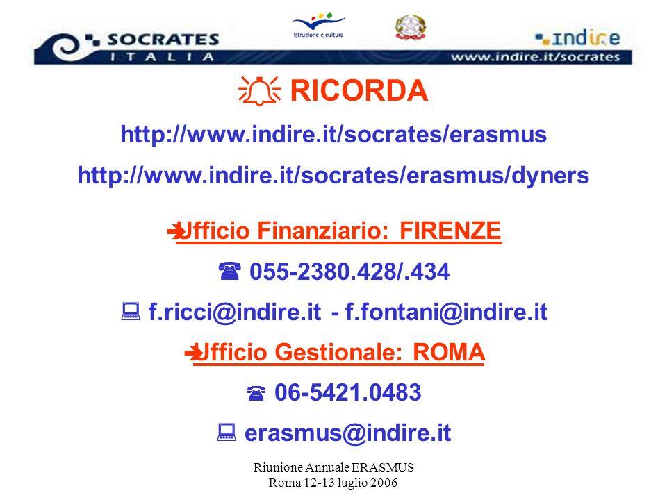 RICORDA http://www.indire.it/socrates/erasmus http://www.indire.it/socrates/erasmus/dyners Ufficio Finanziario: FIRENZE 055-2380.428/.434 f.ricci@indi