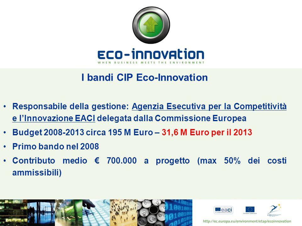 I bandi CIP Eco-Innovation Responsabile della gestione: Agenzia Esecutiva per la Competitività e lInnovazione EACI delegata dalla Commissione Europea Budget 2008-2013 circa 195 M Euro – 31,6 M Euro per il 2013 Primo bando nel 2008 Contributo medio 700.000 a progetto (max 50% dei costi ammissibili)