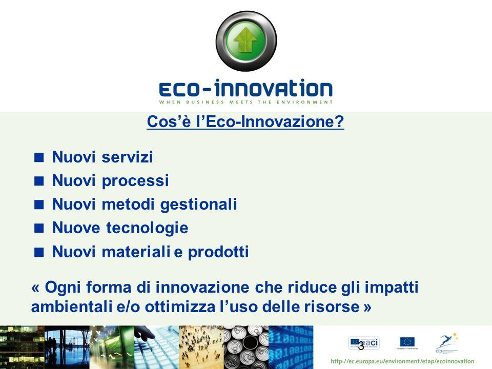 Obiettivi del programma Eco-Innovazione: in sintesi Sostenere i progetti di prima applicazione commerciale e lassorbimento sul mercato di tecniche, prodotti, pratiche e tecnologie innovativi Contribuire a colmare il divario tra ricerca e sviluppo, da un lato e settore produttivo, dallaltro Contribuire ad abbattere le barriere sul mercato che ancora ostacolano il successo dei prodotti e dei servizi eco-innovativi, soprattutto se concepiti dalle piccole e medie imprese (PMI) europee