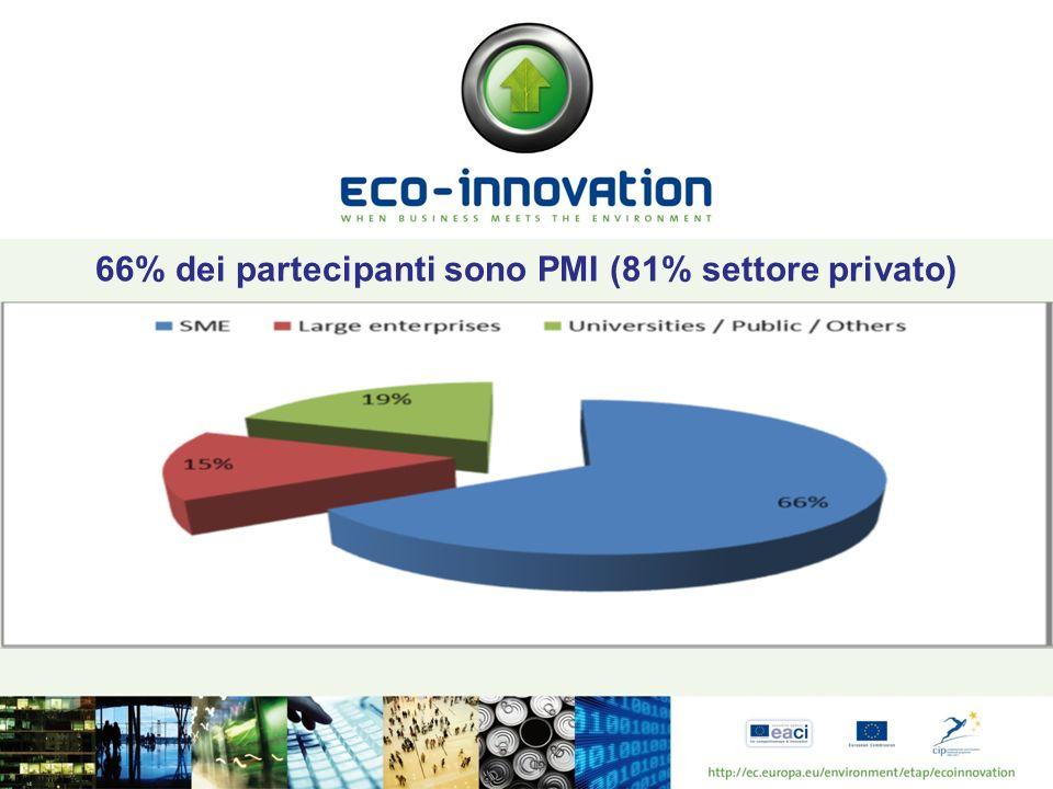 66% dei partecipanti sono PMI (81% settore privato)