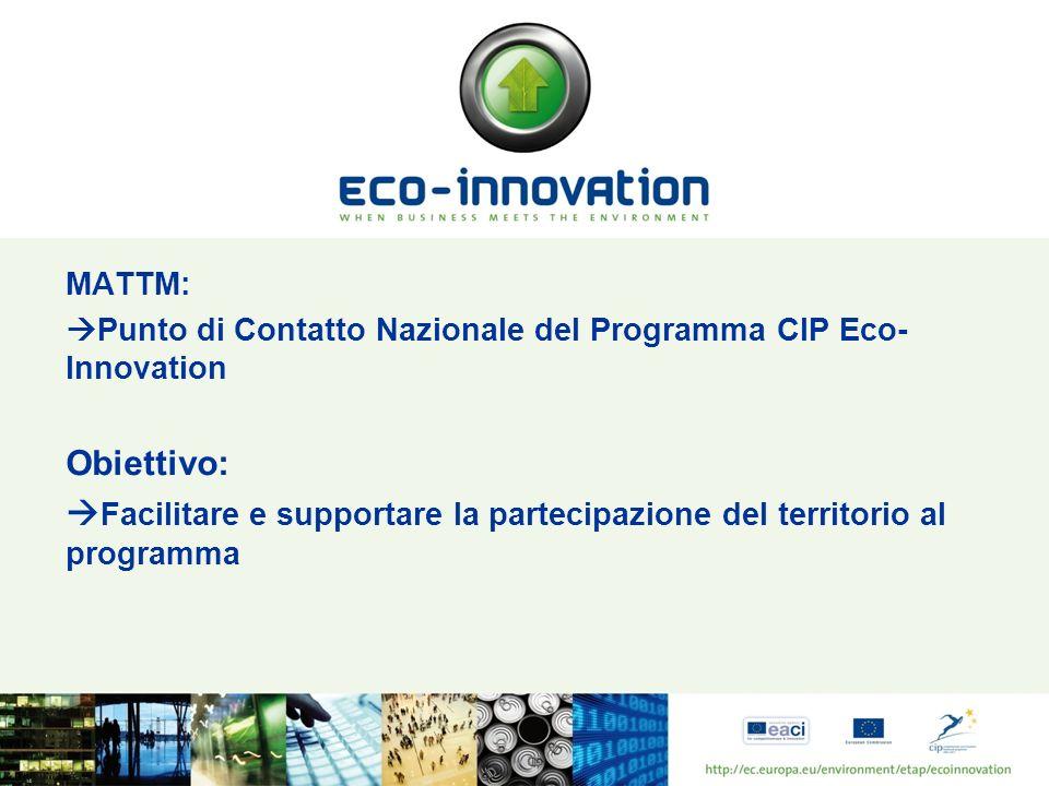MATTM: Punto di Contatto Nazionale del Programma CIP Eco- Innovation Obiettivo: Facilitare e supportare la partecipazione del territorio al programma