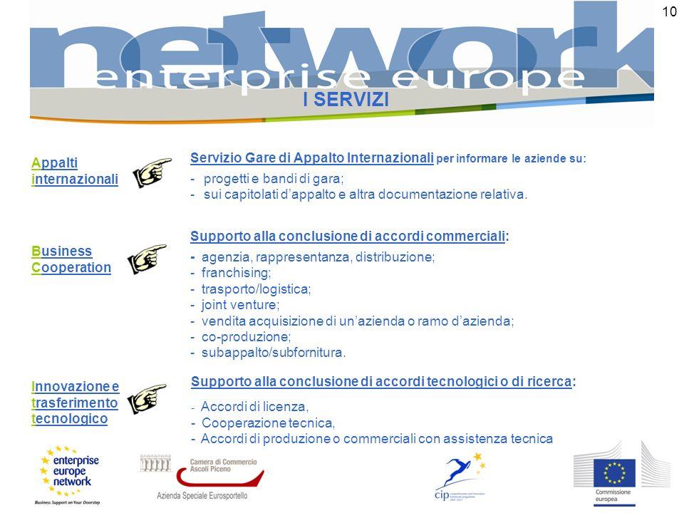 10 I SERVIZI Business Cooperation Supporto alla conclusione di accordi commerciali: - agenzia, rappresentanza, distribuzione; - franchising; - traspor