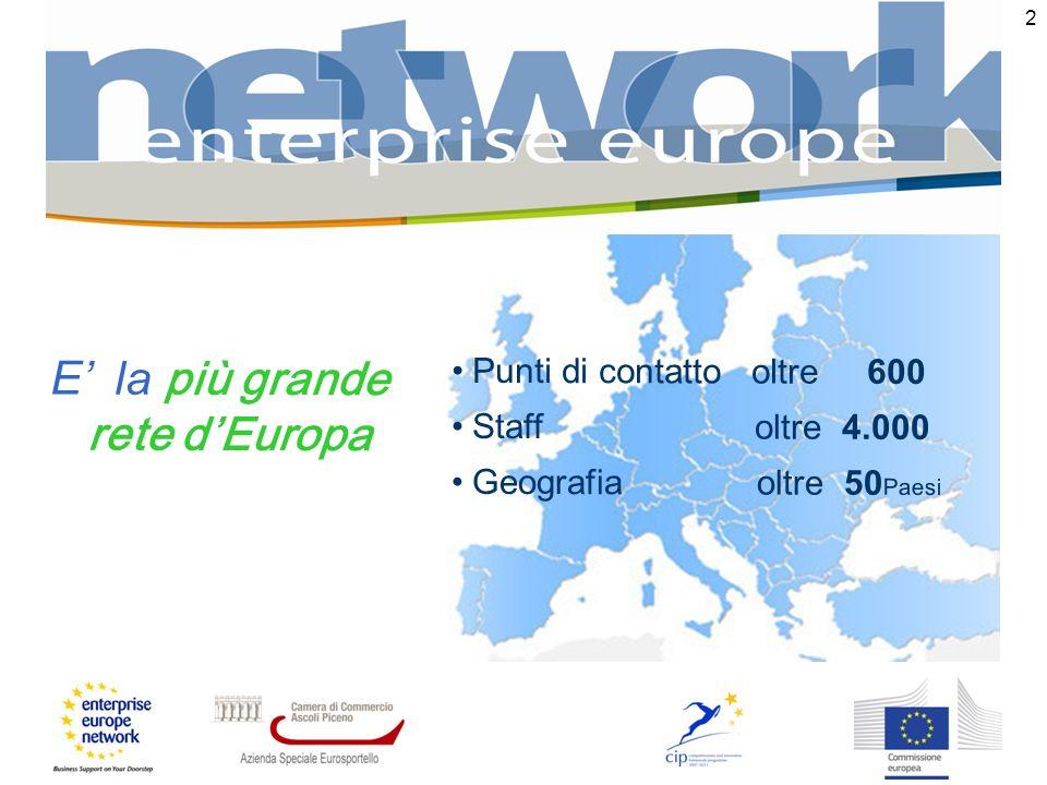 2 E la più grande rete dEuropa Punti di contatto oltre 600 Staff oltre 4.000 Geografia oltre 50 Paesi