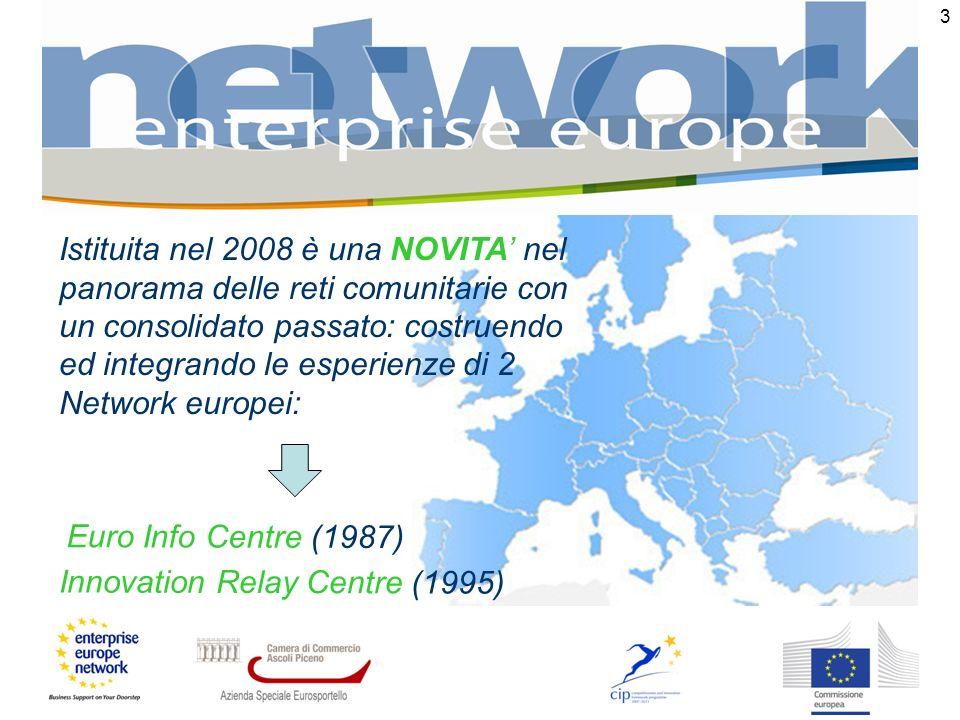 3 Euro Info Centre (1987) Istituita nel 2008 è una NOVITA nel panorama delle reti comunitarie con un consolidato passato: costruendo ed integrando le esperienze di 2 Network europei: Innovation Relay Centre (1995)