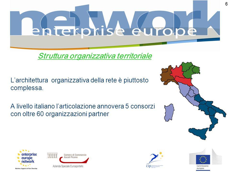 6 Struttura organizzativa territoriale Larchitettura organizzativa della rete è piuttosto complessa. A livello italiano larticolazione annovera 5 cons