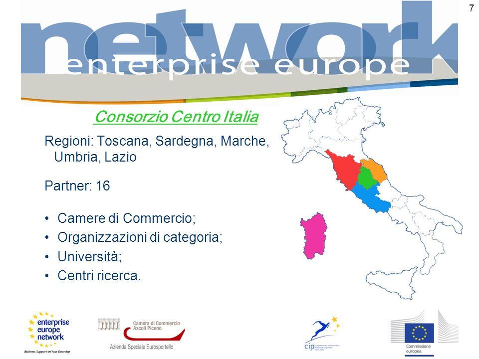 7 Consorzio Centro Italia Regioni: Toscana, Sardegna, Marche, Umbria, Lazio Partner: 16 Camere di Commercio; Organizzazioni di categoria; Università; Centri ricerca.