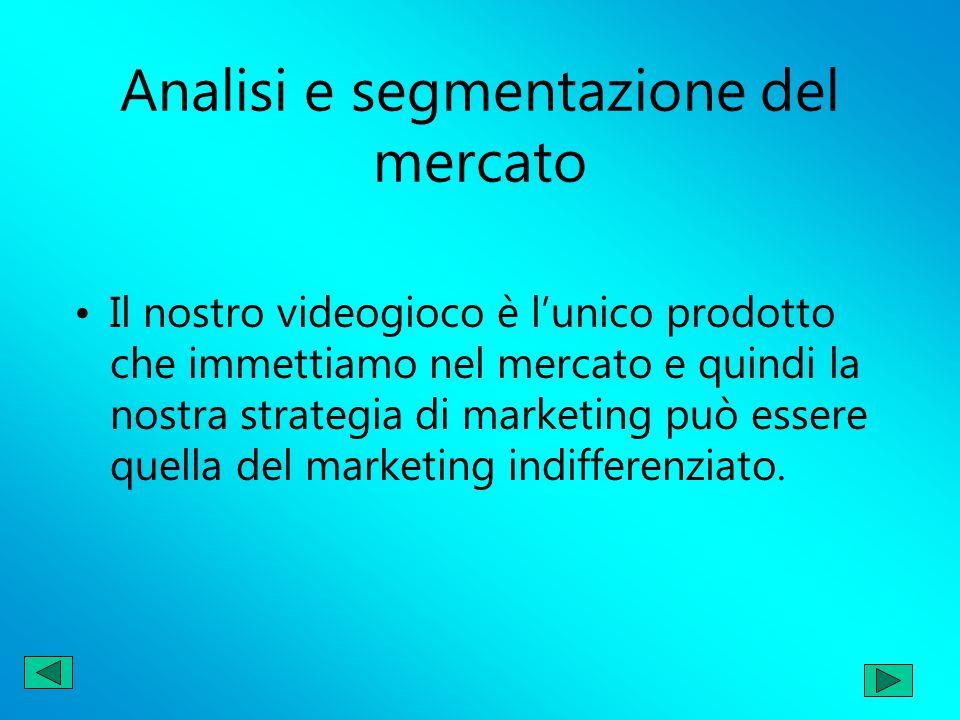Analisi e segmentazione del mercato Il nostro videogioco è lunico prodotto che immettiamo nel mercato e quindi la nostra strategia di marketing può es