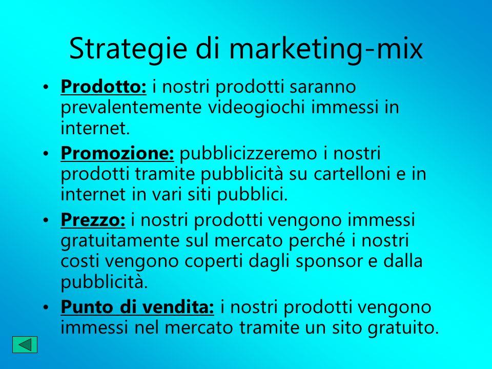 Strategie di marketing-mix Prodotto: i nostri prodotti saranno prevalentemente videogiochi immessi in internet. Promozione: pubblicizzeremo i nostri p