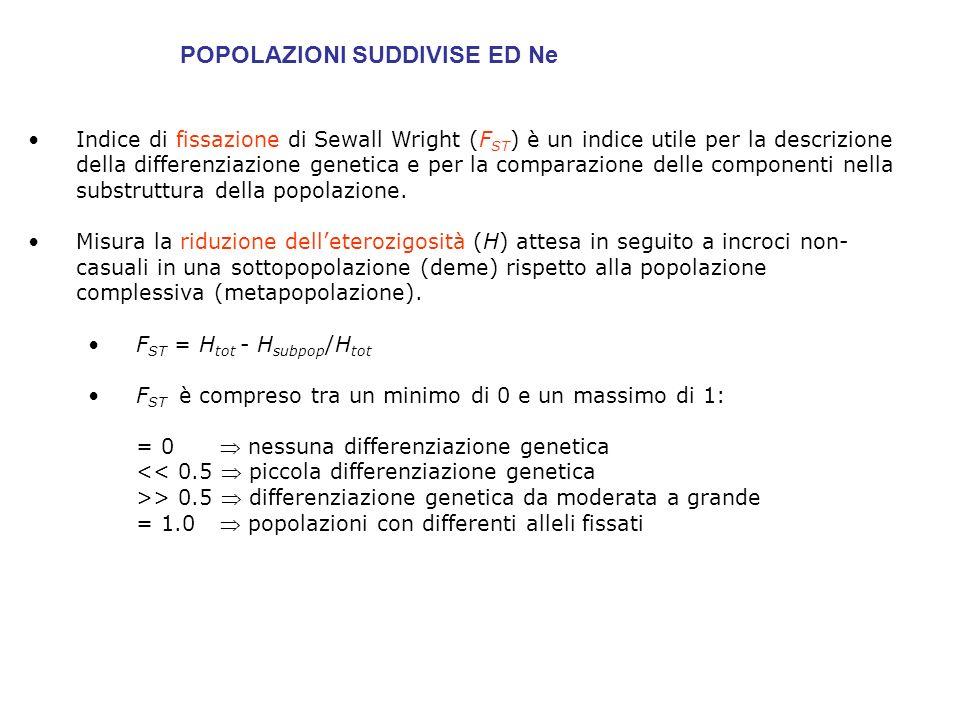 N e permette di calcolare la PROBABILITA DI FISSAZIONE DI UN NUOVO ALLELE IN ASSENZA DI SELEZIONE E MUTAZIONE t= tempo di fissazione in generazioni= 4Ne se N= 20 Ne=14 t fix = 56 = 1120y se N= 1000 Ne=660 tfix = 2640 = 52800y