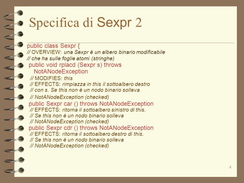 5 Specifica di Sexpr 3 public class Sexpr { // OVERVIEW: una Sexpr è un albero binario modificabile // che ha sulle foglie atomi (stringhe) public boolean nullS () throws NullPointerException // EFFECTS: ritorna true se this è lalbero vuoto, // altrimenti ritorna false.