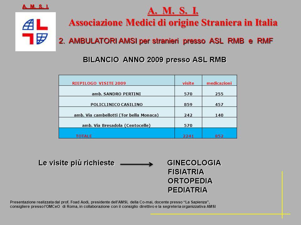 2. AMBULATORI AMSI per stranieri presso ASL RMB e RMF BILANCIO ANNO 2009 presso ASL RMB BILANCIO ANNO 2009 presso ASL RMB A. M. S. I. Associazione Med