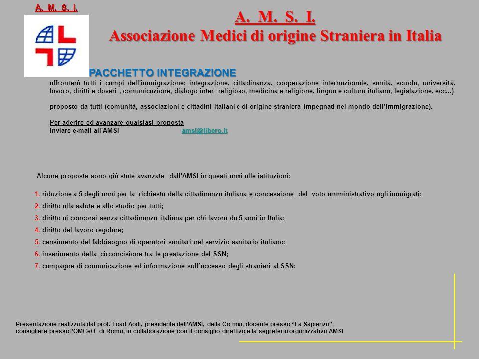 A. M. S. I. Associazione Medici di origine Straniera in Italia Alcune proposte sono già state avanzate dall'AMSI in questi anni alle istituzioni: 1. r