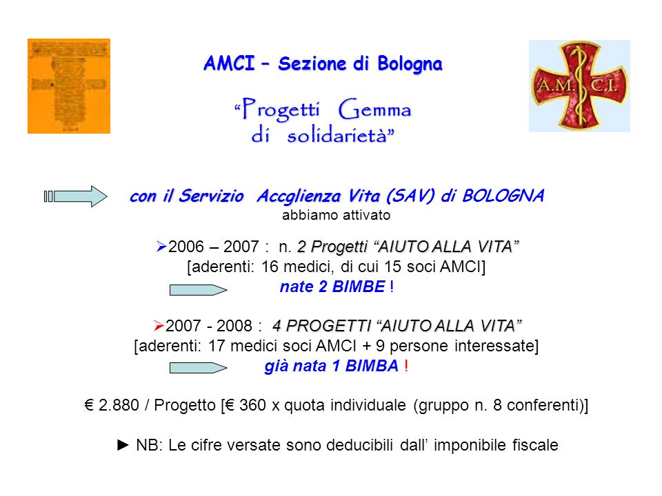 AMCI – Sezione di Bologna Progetti Gemma di solidarietà con il Servizio Accglienza Vita con il Servizio Accglienza Vita (SAV) di BOLOGNA abbiamo attiv