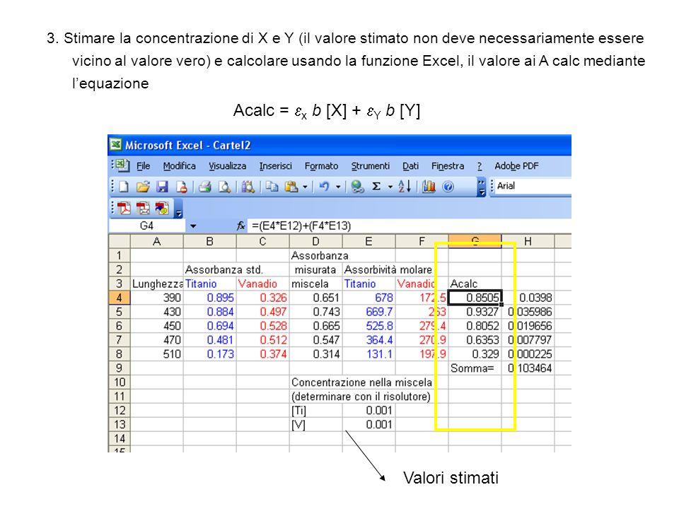 3. Stimare la concentrazione di X e Y (il valore stimato non deve necessariamente essere vicino al valore vero) e calcolare usando la funzione Excel,