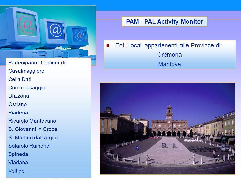 Comune di Casalmaggiore PAM - PAL Activity Monitor Partecipano i Comuni di: Casalmaggiore Cella Dati Commessaggio Drizzona Ostiano Piadena Rivarolo Mantovano S.