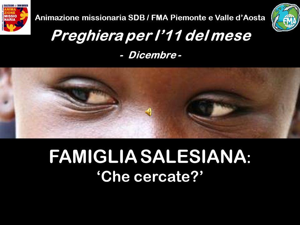 Animazione missionaria SDB / FMA Piemonte e Valle dAosta Preghiera per l11 del mese - Dicembre - FAMIGLIA SALESIANA : Che cercate?
