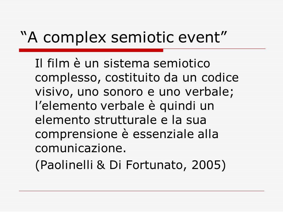 A complex semiotic event Il film è un sistema semiotico complesso, costituito da un codice visivo, uno sonoro e uno verbale; lelemento verbale è quind