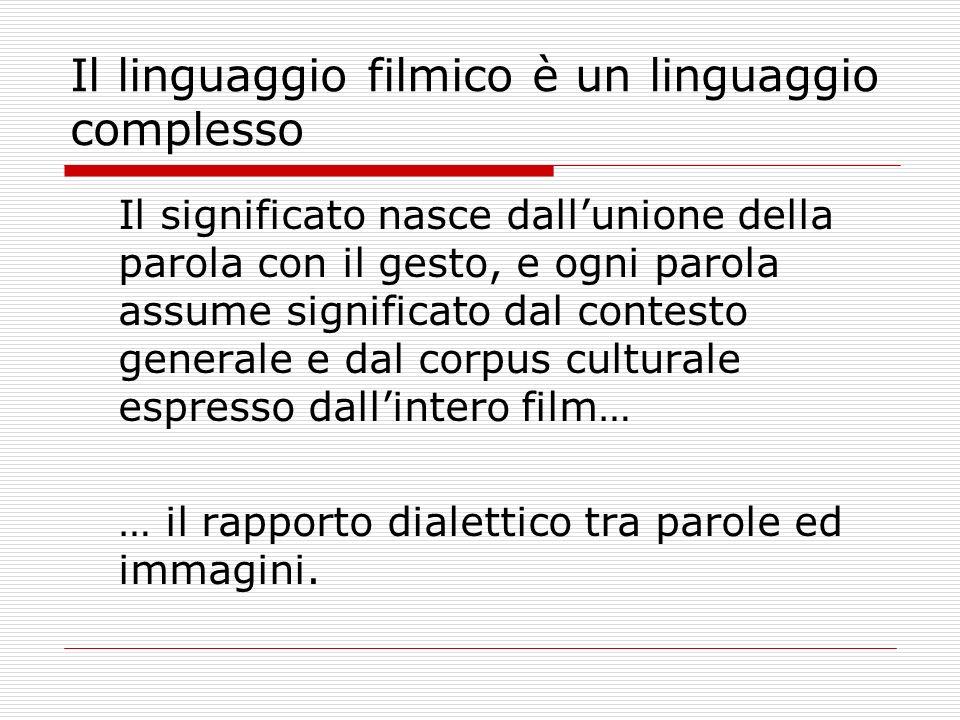 Il linguaggio filmico è un linguaggio complesso Il significato nasce dallunione della parola con il gesto, e ogni parola assume significato dal contes