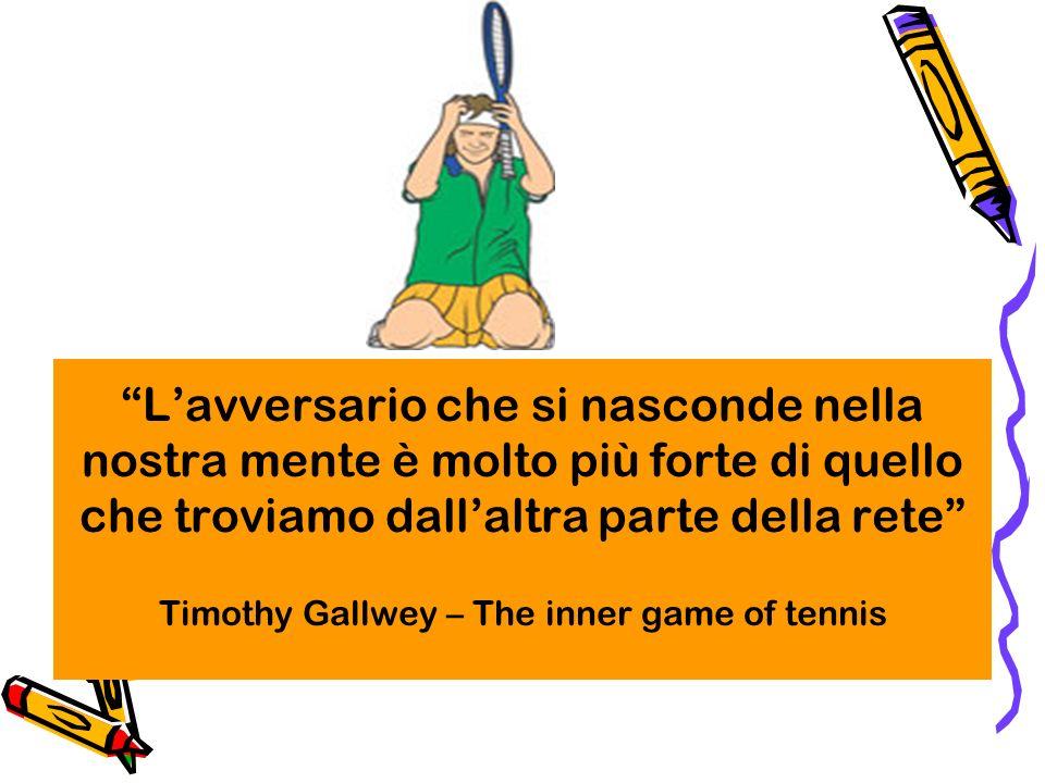 Lavversario che si nasconde nella nostra mente è molto più forte di quello che troviamo dallaltra parte della rete Timothy Gallwey – The inner game of tennis